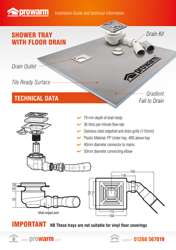 ProWarm™ Shower Tray with Floor Drain installation manual